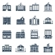 Government Building Black Icons Set