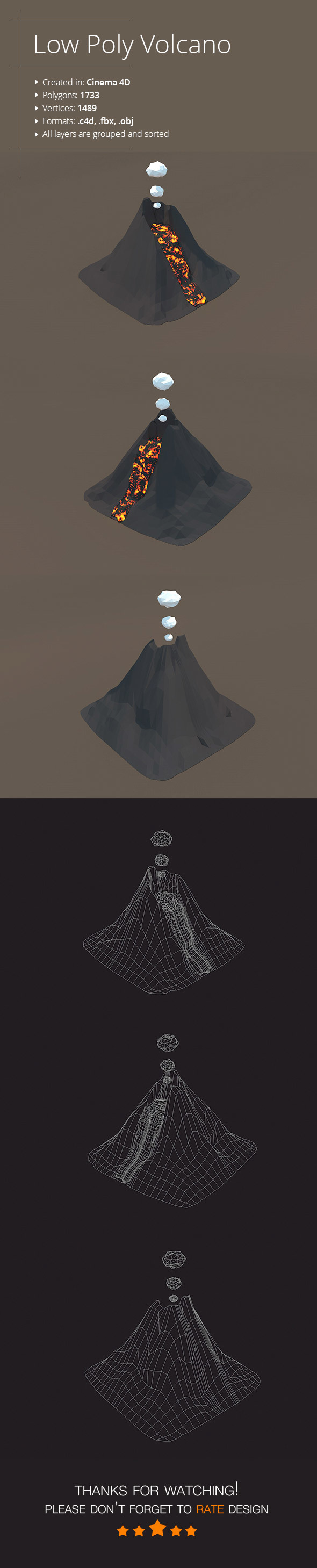 Low Poly Volcano - 3DOcean Item for Sale