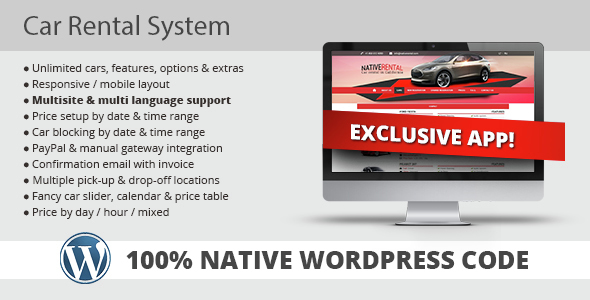 Car Rental System (Native WordPress Plugin) - CodeCanyon Item for Sale