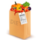 Diet Paper Bag with Vegetables and Nutritional Label