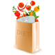 Diet Paper Bag With a Scale and Vegetables Concept