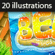 20 Tropical Summer Vector Illustrations - GraphicRiver Item for Sale