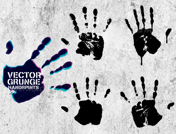 Vector Grunge Hand Prints - Man-made Objects Objects