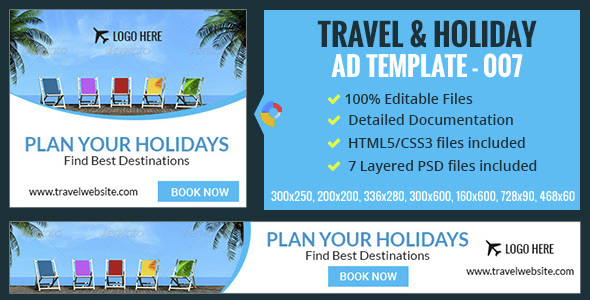 GWD | Travel & Vacation HTML5 Banners - 07 Sizes