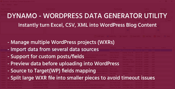 DYNAMO – WordPress Data Generation Utility