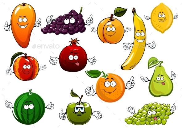 Cartoon Happy Fresh Fruits Characters