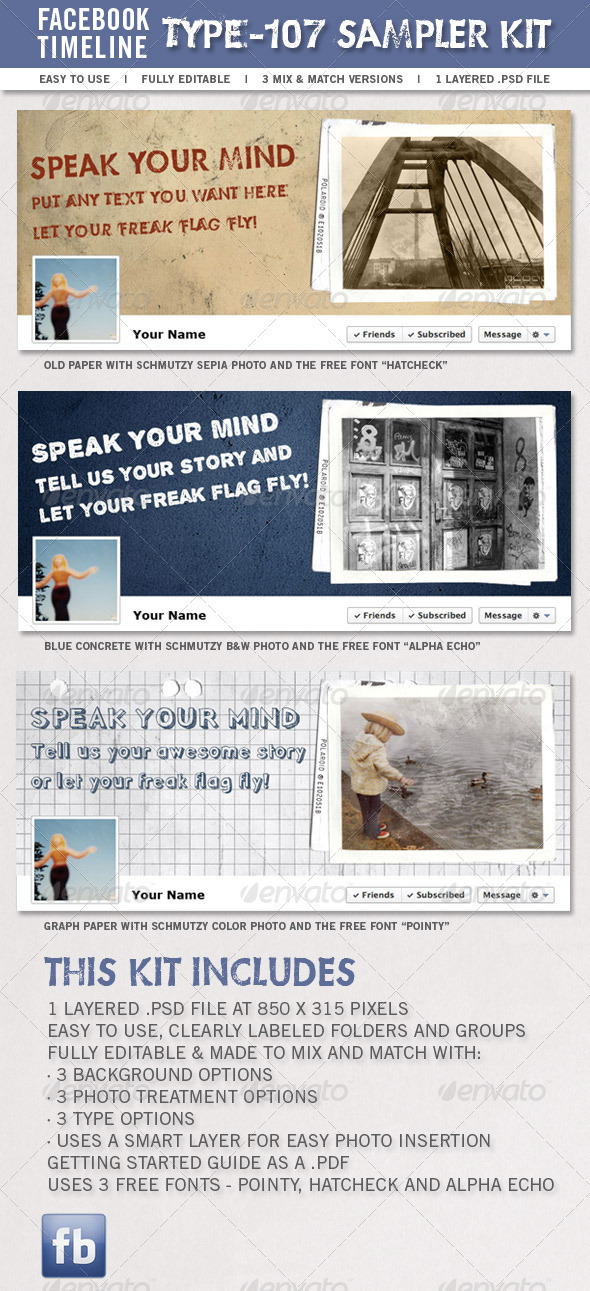 Type-107 Facebook Timeline Sampler Kit - Miscellaneous Social Media