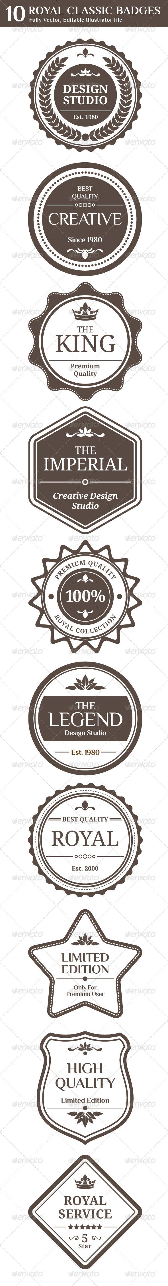Royal Classic Badges - Web Elements Vectors
