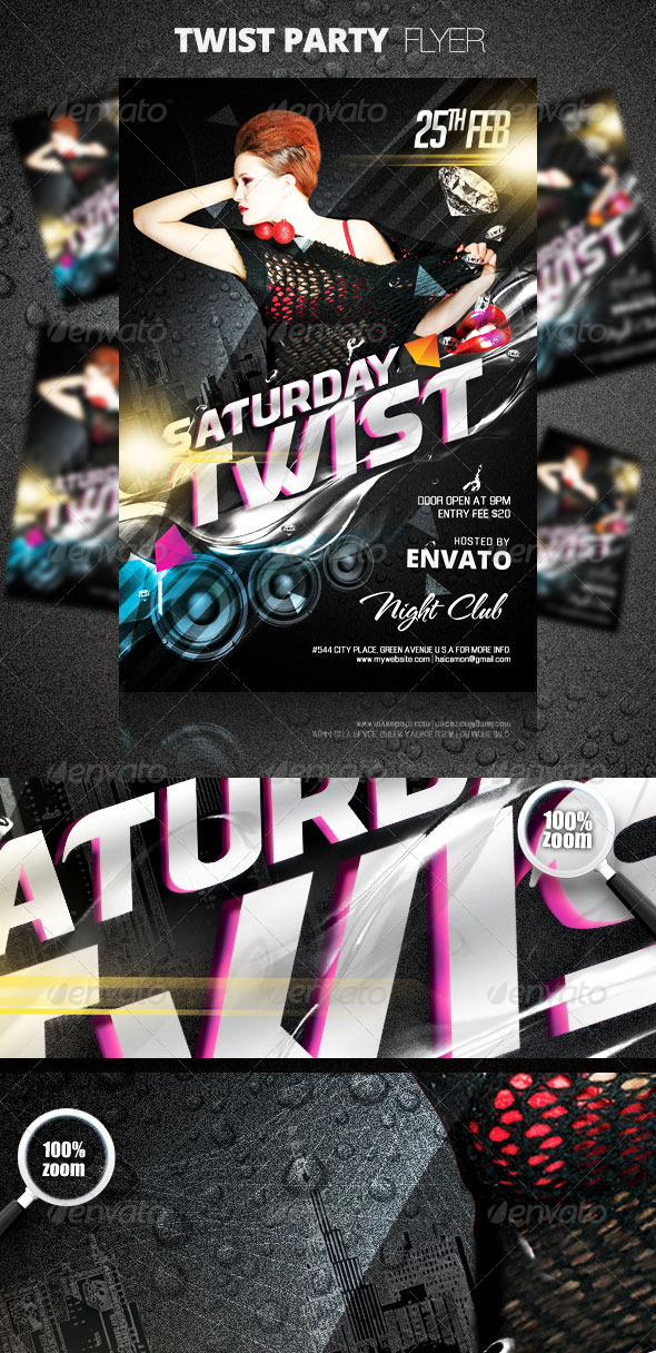Graphic River Twist Party Flyer Print Templates -  Flyers  Events  Clubs & Parties 1513371