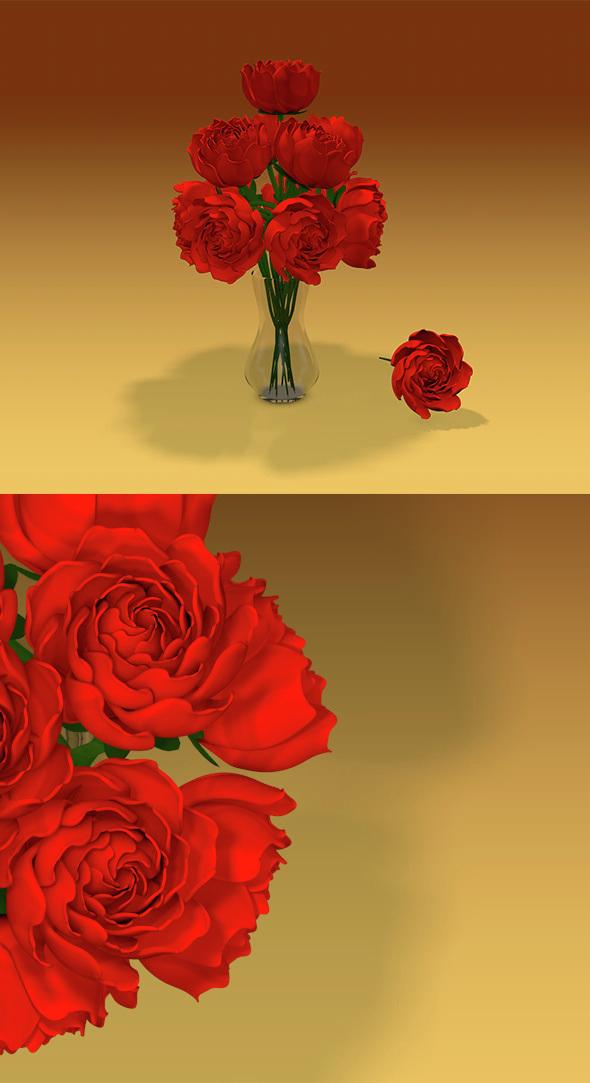 Roses & Vase - 3DOcean Item for Sale