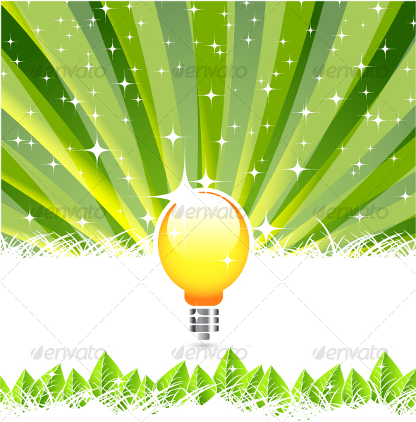 Abstract background with light bulb instead of sun