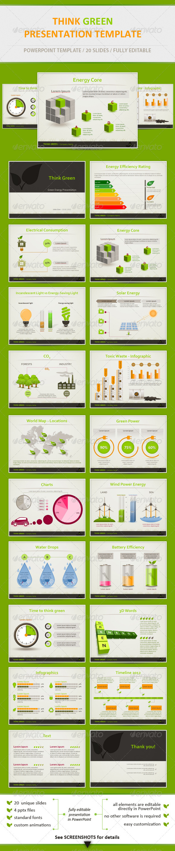 Graphic River Think Green Eco Friendly Presentation Template Presentation Templates -  Powerpoint Templates 1513908