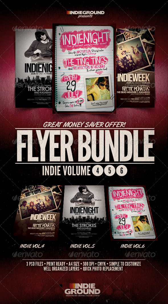 Indie Flyer/Poster Bundle Vol. 4-6 - Clubs & Parties Events