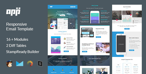 app multipurpose responsive email template stampready builder wordpress theme. Black Bedroom Furniture Sets. Home Design Ideas