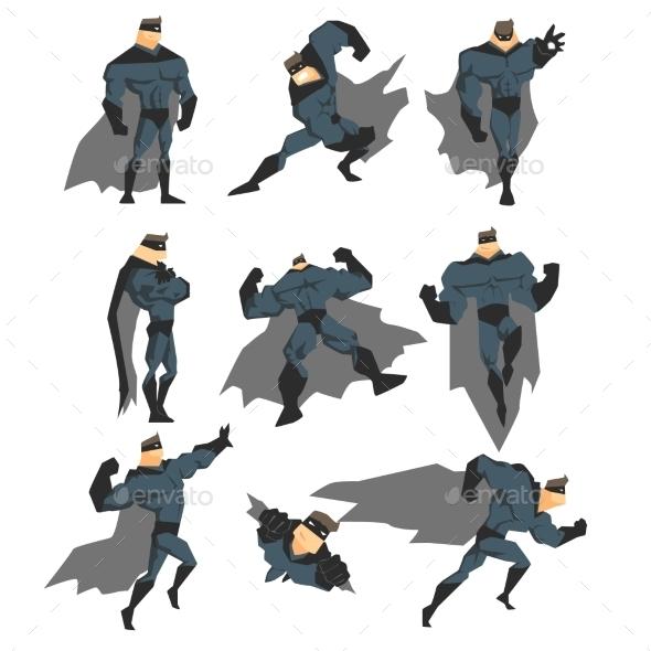 Superhero Actions Set in Comics Style