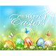 Easter Sunny Background with Eggs in Grass