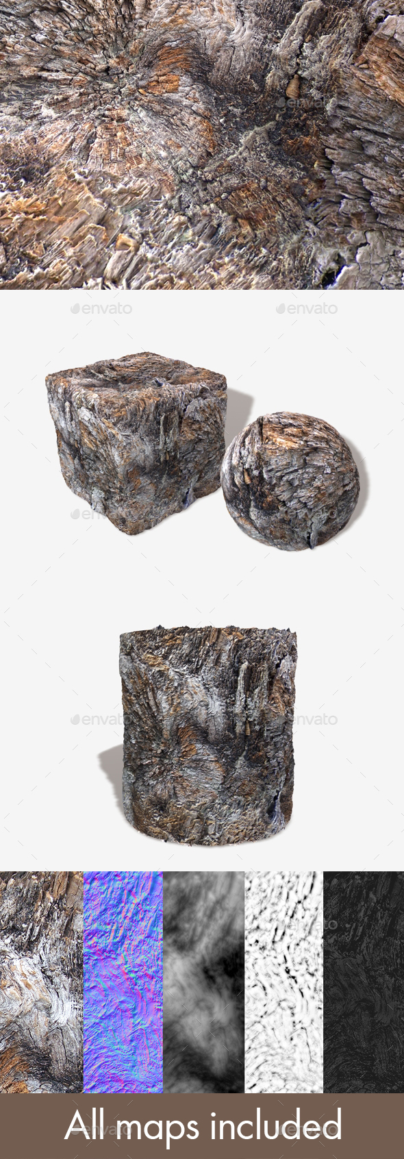 Gnarly Wood Seamless Texture - 3DOcean Item for Sale