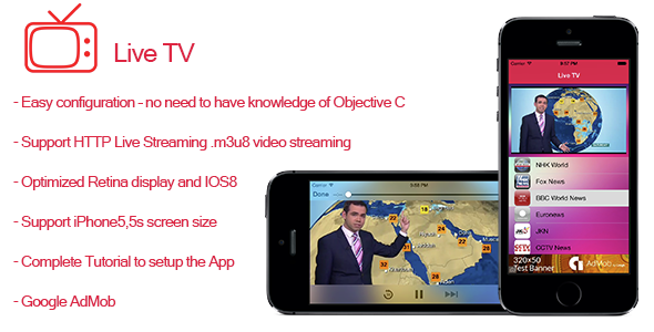 Live TV- Streaming TV for iPhone and iPad  - CodeCanyon Item for Sale