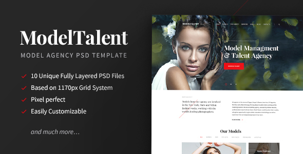 ModelTalent — Model Agency PSD Template