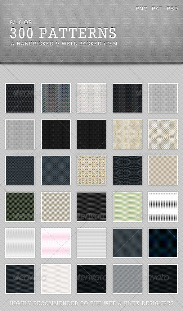 30Patterns For Web & Interfaces (PSD+PNG+.PAT) #09 - Miscellaneous Brushes