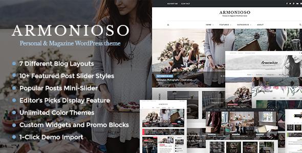 Download Armonioso - Personal & Magazine WordPress Responsive Blog Theme nulled download