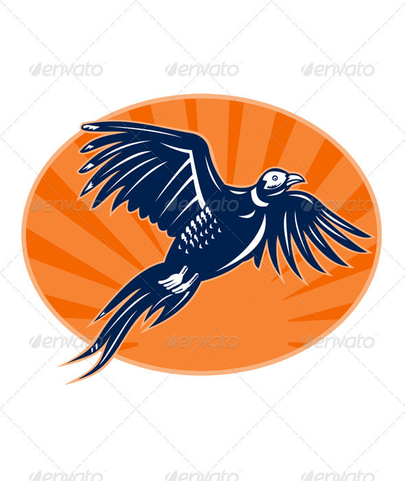 Graphic River Pheasant Bird Flying Retro Style Vectors -  Characters  Animals 1517537