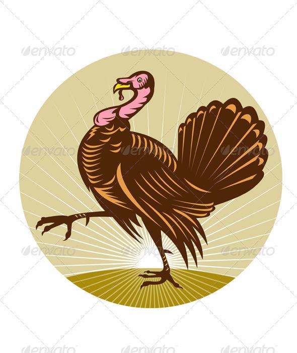 Wild Turkey Marching Woodcut Style