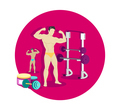 Bodybuilding Sport Concept Icon Flat Design
