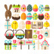 Easter Greeting Flat Isolated Objects