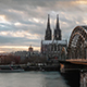 View of the Cologne Cathedral from across the Bridge
