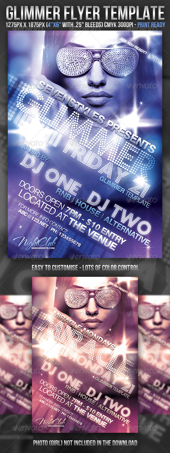Glimmer Flyer Template - Clubs & Parties Events