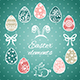 Easter Elements and Seamless Pattern