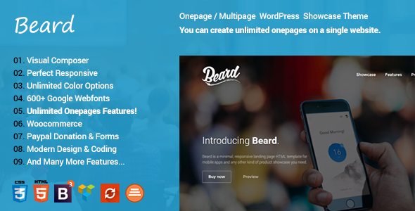 Download Beard Multipurpose Onepage | Multipage Responsive WordPress Theme
