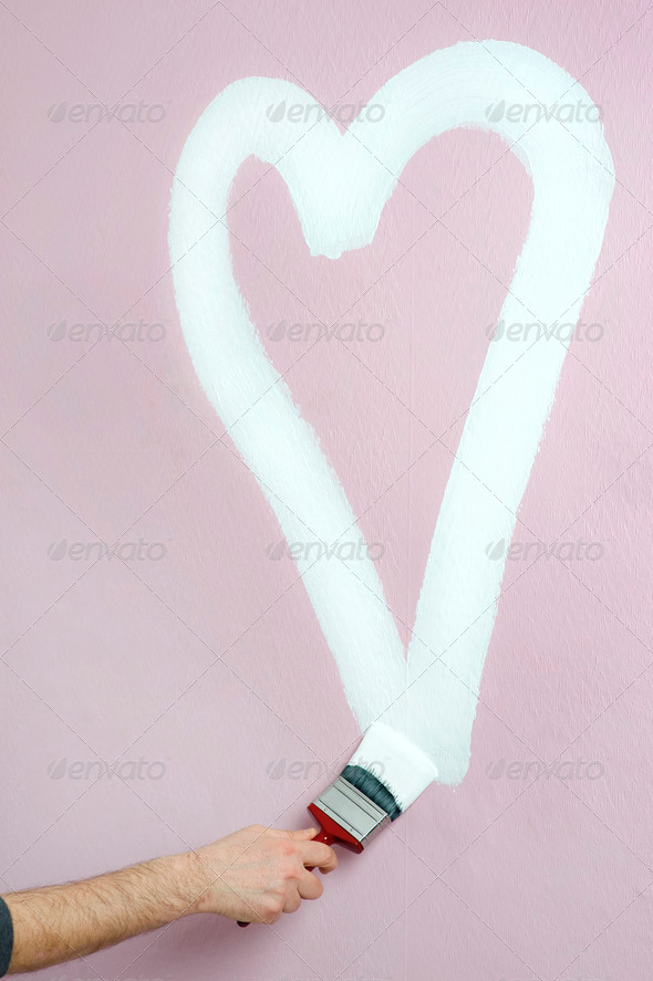 painting a heart - Stock Photo - Images