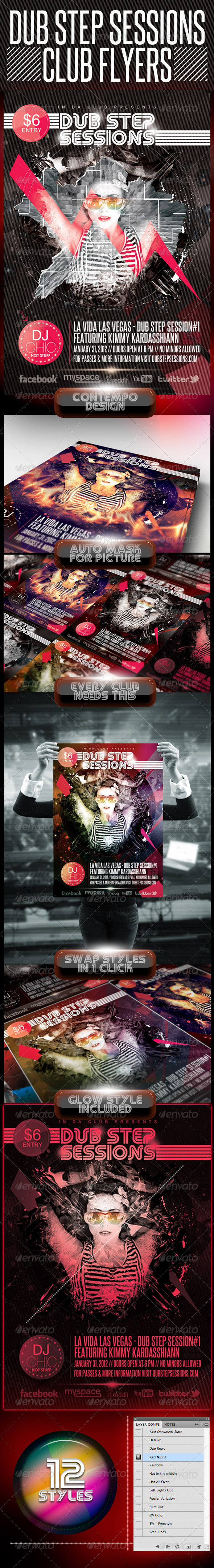 Dubstep Session Club Flyer - Clubs & Parties Events