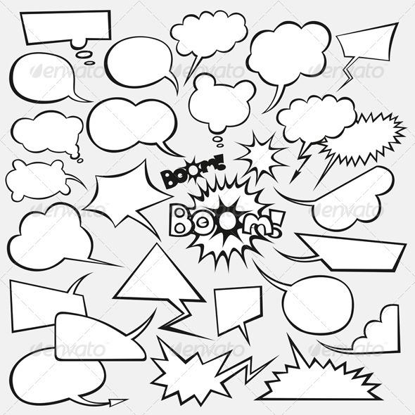 Graphic River Vector Set of Comics Style Speech Bubbles Vectors -  Decorative 1520497