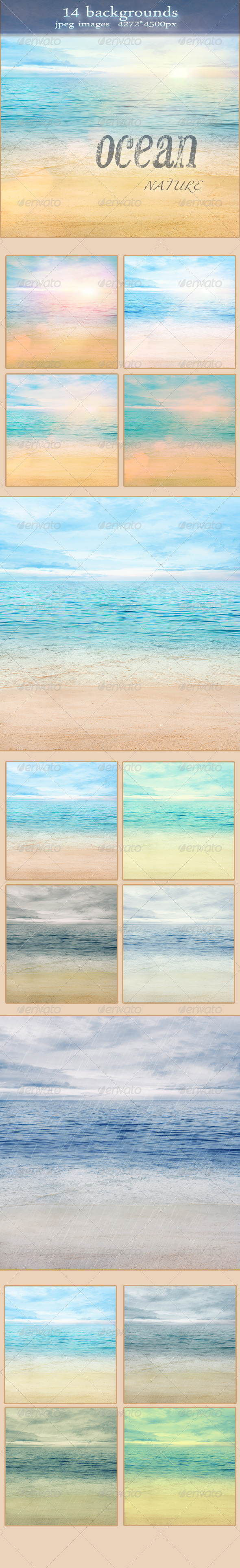 Nature Summer Ocean Backgrounds with Sand Beach - Nature Backgrounds