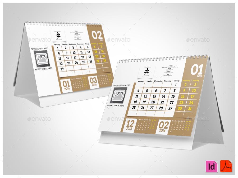 2016 Desktop Calendar Template by shockymocky | GraphicRiver