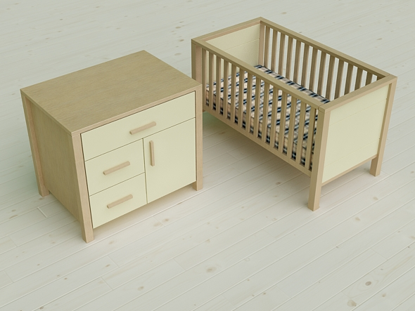 Pierre Cardin 3D  Baby Cot & Changing Cabinet - 3DOcean Item for Sale