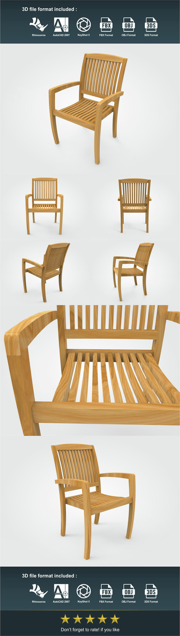 Stacking Chair - 3DOcean Item for Sale