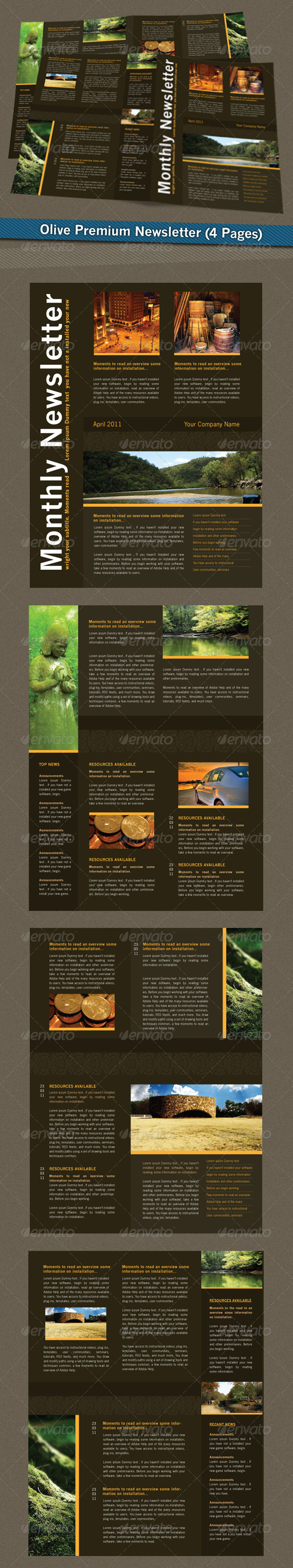 Olive Premium Newsletter - Newsletters Print Templates