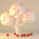 3D Red Apples Falling From Tree Animation