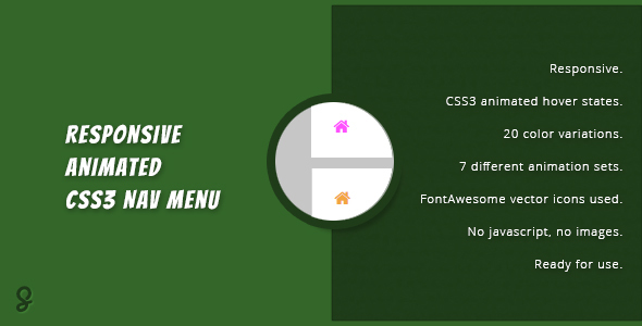 Responsive Animated CSS3 Nav Menu - CodeCanyon Item for Sale