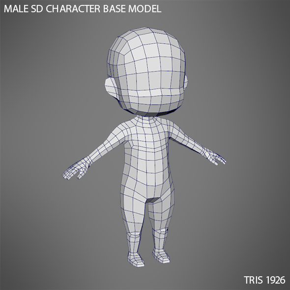 Male SD Character Base Low Poly Model - 3DOcean Item for Sale