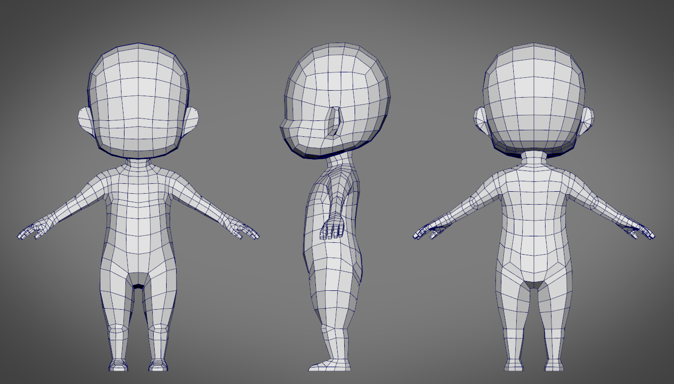 Male sd character base low poly model by hirakyou 3docean for Mobel 3d download