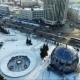Flying Over The City Park In Winter. Spherical Building. Car Traffic