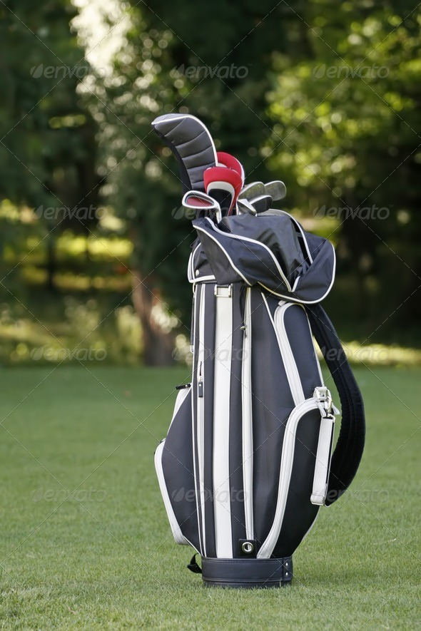 Golf clubs in a bag  - Stock Photo - Images