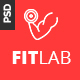 "FITLAB - Fitness  <hr/> <p> GYM & Health PSD Template"" height=""80″ width=""80″></a></div> <div class="
