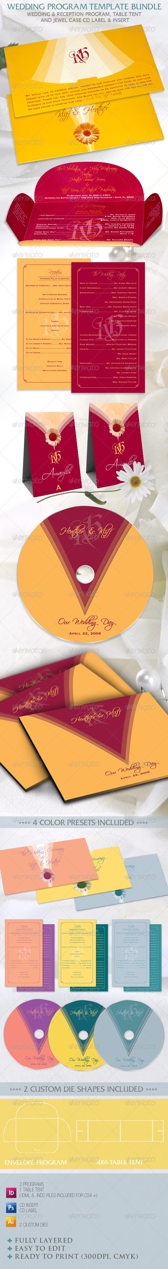 GraphicRiver Wedding Program Template Bundle 758935