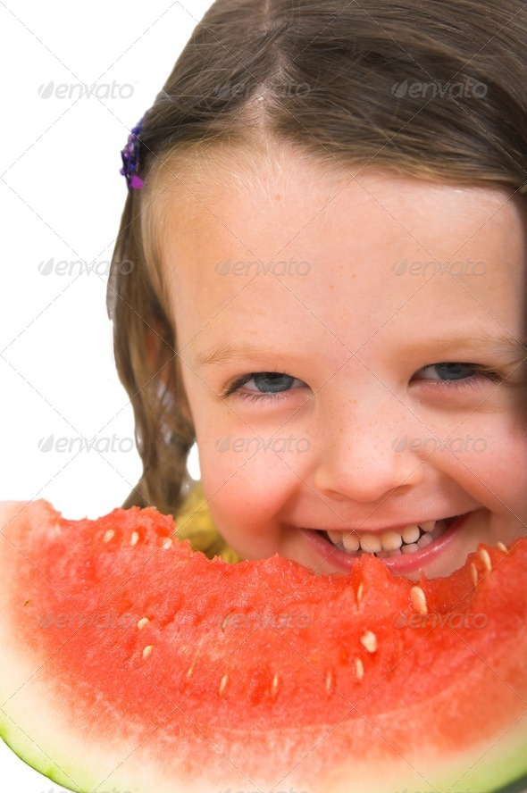 Girl with watermelon16 - Stock Photo - Images